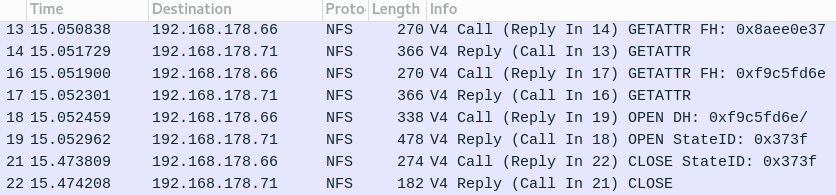 Wireshark NFS overview